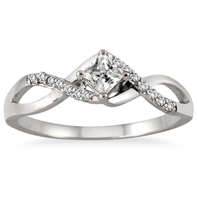 3/8 Carat Princess Cut Diamond Bridal Set in 10K White Gold