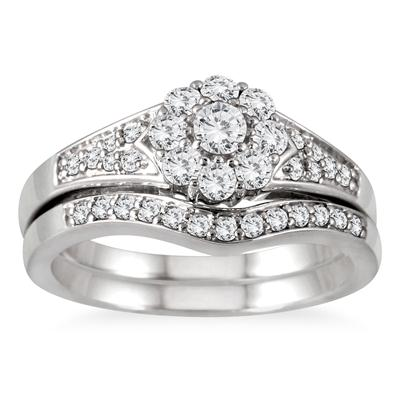 5/8 Carat Diamond Halo Bridal Set in 10K White Gold