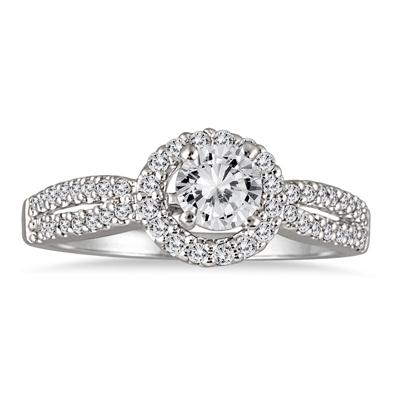 IGI Certified 1 1/5 Carat Diamond Halo Bridal Set in 14K White Gold (J-K Color, I2-I3 Clarity)