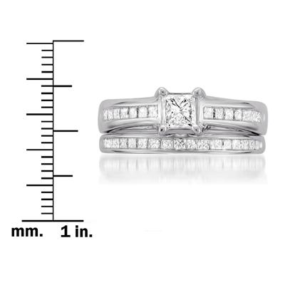 1 1/8 Carat Princess Cut Diamond Channel Set Bridal Set in 14K White Gold