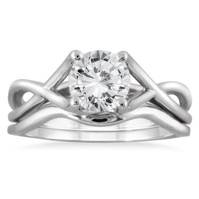 1 Carat Diamond Bridal Set in 14K White Gold