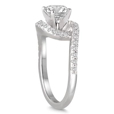 1 5/8 Carat Curved Diamond Bridal Set in 14K White Gold