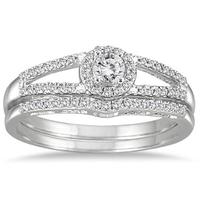 1/3 Carat Diamond Split Shank Bridal Set in 10K White Gold