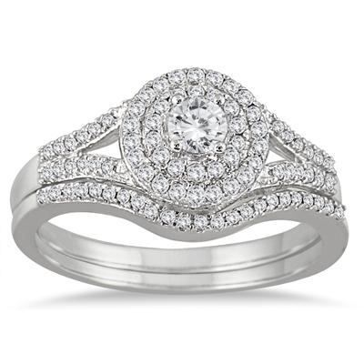 1/2 Carat Diamond Double Halo Split Shank Bridal Set in 10K White Gold