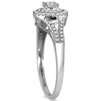 1/2 Carat TW Diamond Double Halo Split Shank Bridal Set in 10K White Gold