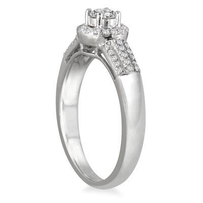 2/5 Carat TW Diamond Halo Bridal Set in 10K White Gold