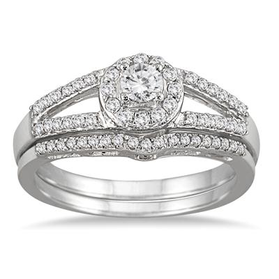 1/2 Carat Split Shank Diamond Bridal Set in 10K White Gold