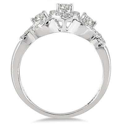 5/8 Carat TW Three Stone Diamond Cluster Bridal Set in 10K White Gold