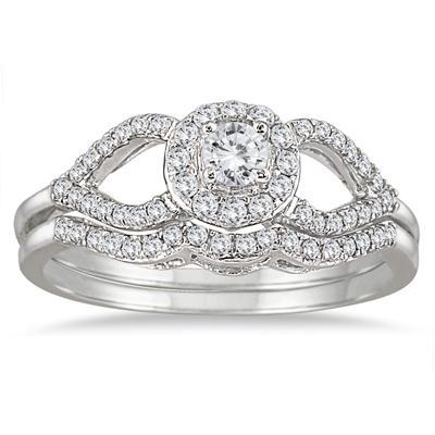 2/5 Carat Diamond Bridal Set in 10K White Gold