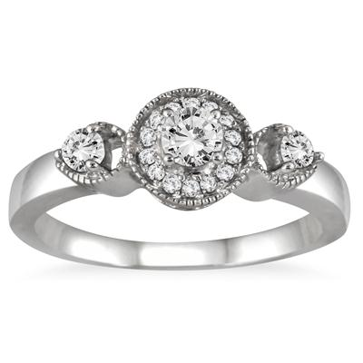 1/2 Carat TW Antique Diamond Bridal Set in 10K White Gold