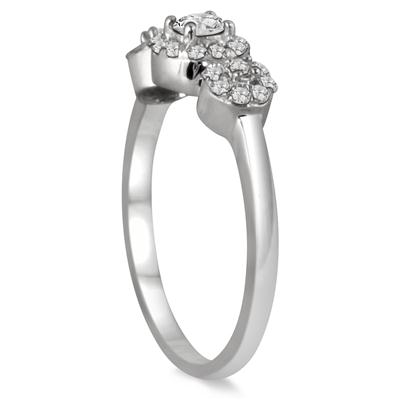 1/2 Carat Three Stone Diamond Cluster Bridal Set in 10K White Gold