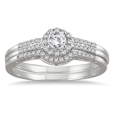 1/2 Carat Diamond Halo Bridal Set in 10K White Gold