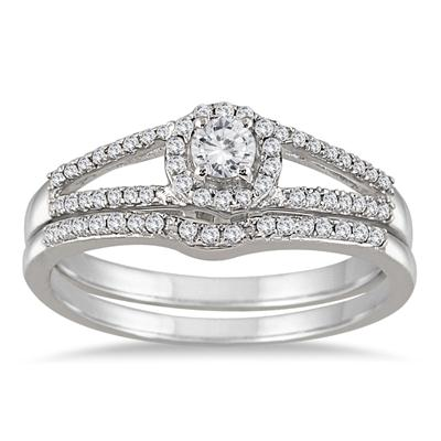 1/3 Carat Split Shank Diamond Bridal Set in 10K White Gold
