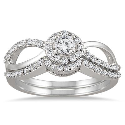 1/2 Carat Diamond Open Infinity Bridal Set in 10K White Gold