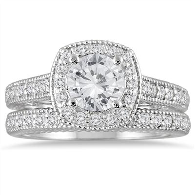 1 5/8 Carat TW Diamond Halo Antique Bridal Set in 14K White Gold (J-K Color, I2-I3 Clarity)