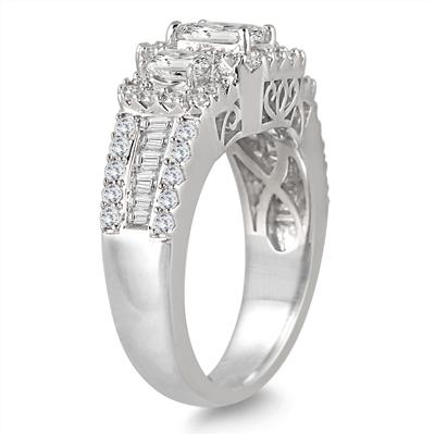2 Carat Three Stone Diamond Halo Ring in 14K White Gold