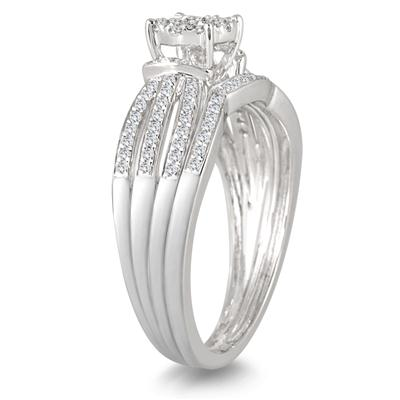 1/2 Carat Diamond Split Shank Bridal Set in 14K White Gold