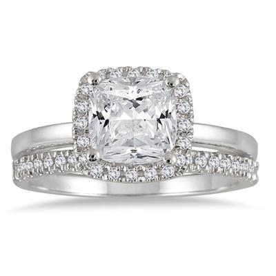 1 1/3 carat Cushion Diamond Bridal Set in 14K White Gold