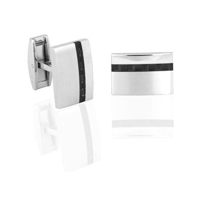 Carbon Fibre and Stainless Steel Rectangular Cuff Links