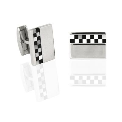 Onyx and Mop Checks Stainless Steel Cuff Links