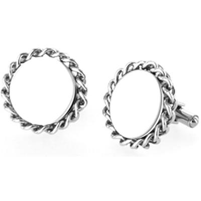 Stainless Steel Large Braided Rope Edge Cuff Links