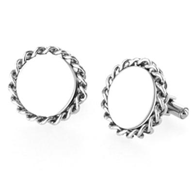 High Polish Stainless Steel Cuff Links with Braided Rope Edge