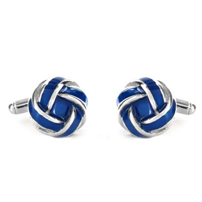 Stainless Steel Blue and White Knot Style Cuff Links