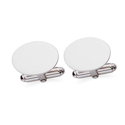 Sterling Silver Oval Plain Polish Cuff Links