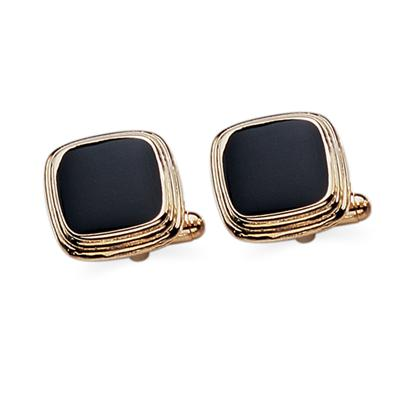 23 Karat Gold Plated Black Lacquer Cuff Links