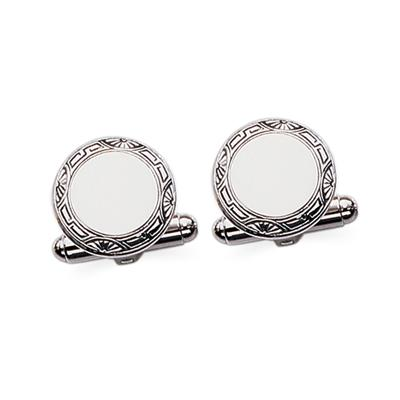 Sterling/Silver Polished Round Framed Cuff Links