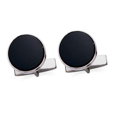 Sterling Silver Round Onyx Cuff Links