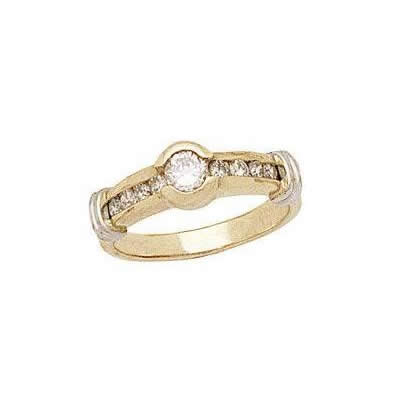 Two-tone Open Channel Diamond Band