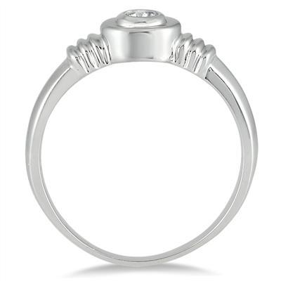 1/10 Carat Bezel Set Diamond Solitaire Ring in 10K White Gold