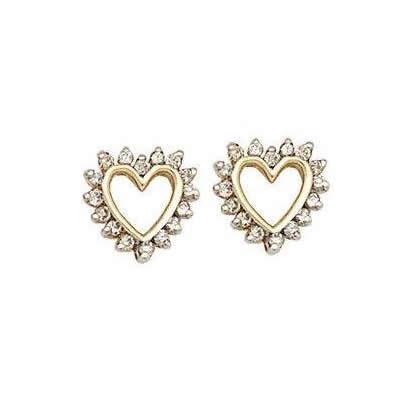 Simple Diamond Heart Earrings