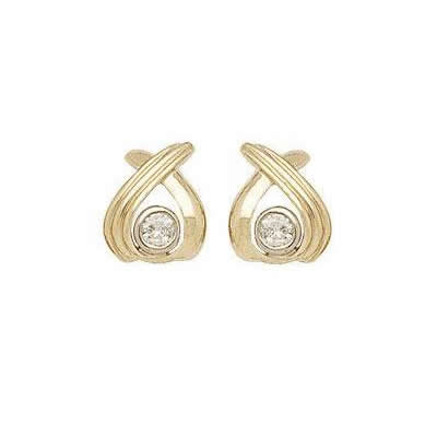 Two-tone High Fashion Diamond Bezel Earrings