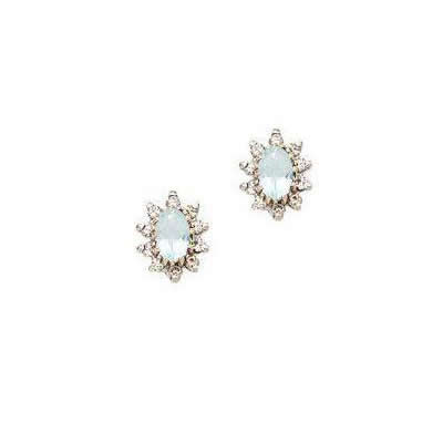 Aquamarine and Diamond Oval Flower Earrings