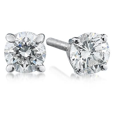 1/4CT White Diamond Stud Earrings set in 14K White Gold