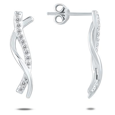 1/4 Carat TW Diamond Twist Earrings Set in 10K White Gold