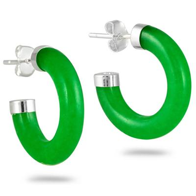 All Natural Green Jade Hoop Earrings in .925 Sterling Silver