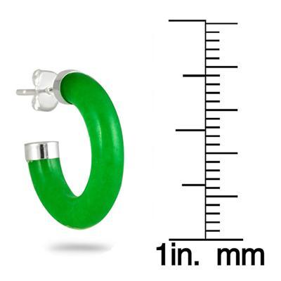 All Natural Green Jade Hoop Earrings in .925 Sterling Silver