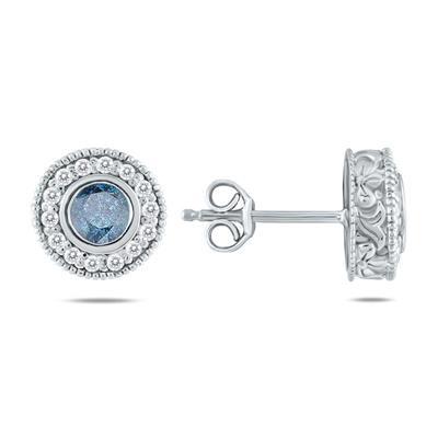 3/4 CTW Blue Diamond Earrings 10K White Gold