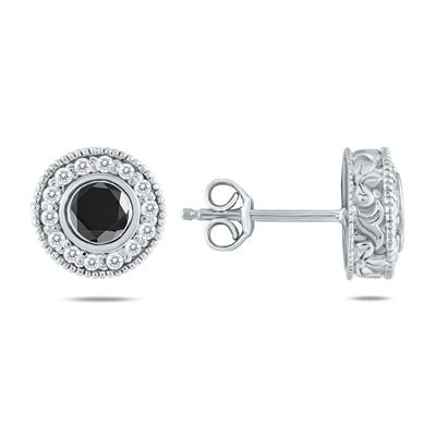 3/4 CTW Black Diamond Earrings 10K White Gold