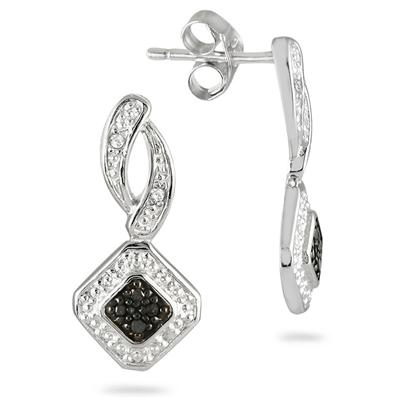 Black and White Diamond Earrings in .925 Sterling Silver