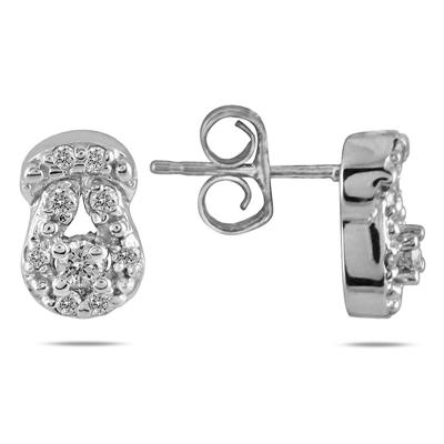 1/4 Carat Diamond Love Knot Earrings in 10K White Gold