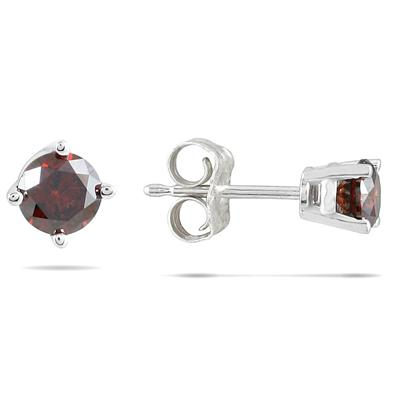 1/2 CTW Cognac Diamond Studs in 14K White Gold