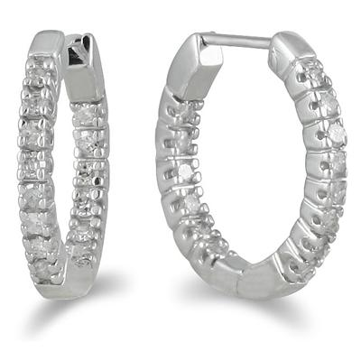 1/4 Carat TW Inside Out Diamond Hoop Huggies in 10K White Gold