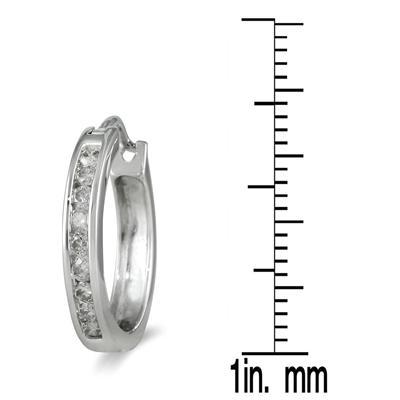 1/2 Carat TW Channel-Set Diamond Hoop Earrings in 10K White Gold