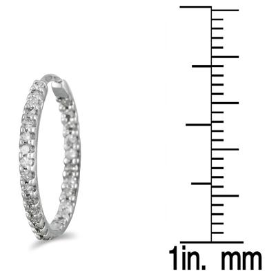 1/2 Carat TW Inside Out Diamond Hoop Earrings in 10K White Gold