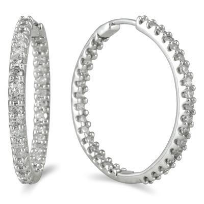 1 Carat TW Inside Out Diamond Hoop Earrings in 10K White Gold
