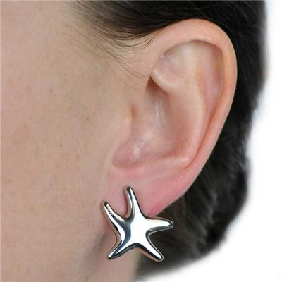 Silver Plated Stainless Steel Starfish Earrings